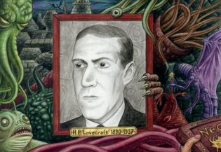 Howard Phillips Lovecraft surrounded by creatures of the Cthulhu mythos he invented, created by Dominique Signoret, 2010