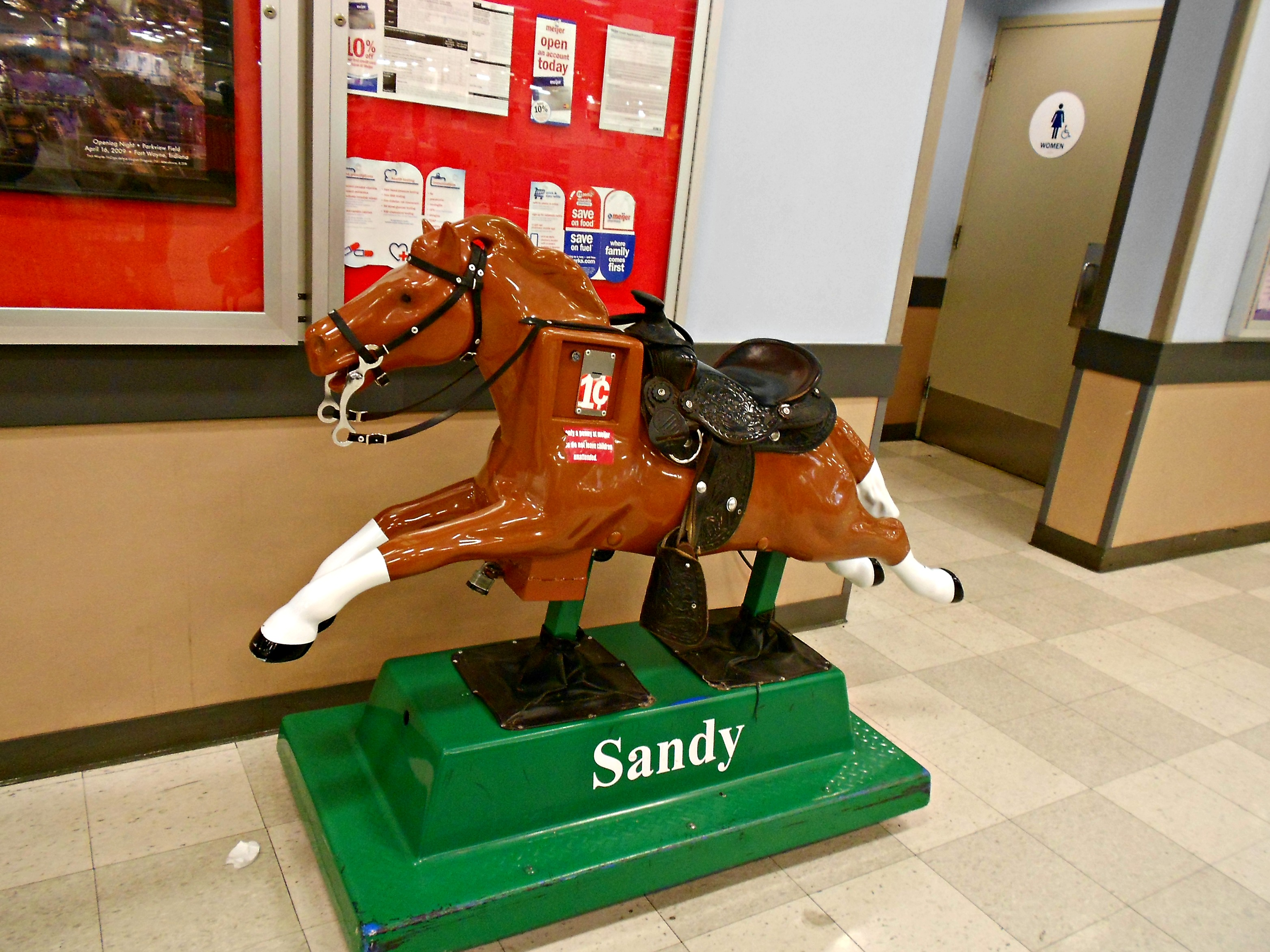 you can still buy something for penny a ride on sandy the horse at